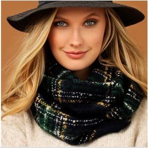 Accessories - PLAID INFINITY SCARF - Navy, green, yellow, white